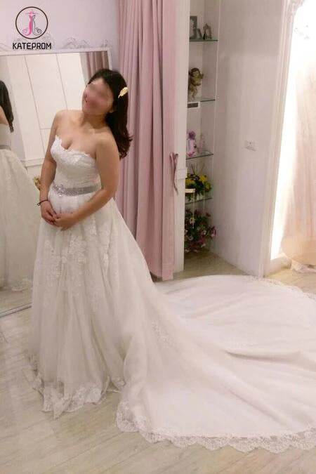 A-line Strapless Lace Appliques Court Train Wedding Dress with Beading Waist KPW0115