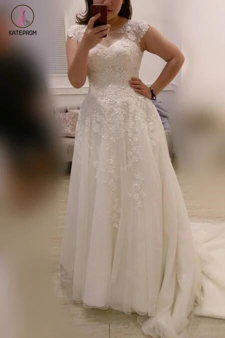 A-line Plus Size Ivory Cap Sleeves Sweep Train Lace Appliques Tulle Wedding Dresses KPW0116