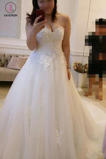 Ball Gown Strapless Ivory Lace Tulle Wedding Gown with Sweep Train,Bridal Gown KPW0117