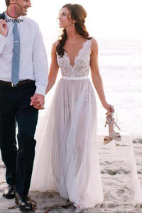 Elegant A Line Scoop Neck Sleeveless Lace Tulle Beach Wedding Dress,Bridal Gown KPW0122