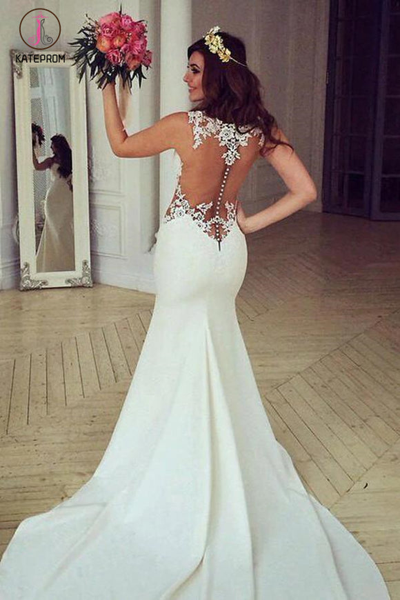 Stunning See-through Mermaid Sleeveless Lace Appliques Court Train Wedding Dress KPW0124