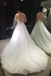 Princess V-neck Sleeveless Backless Court Train Lace Wedding Dress,Sexy Bridal Gown KPW0125