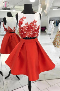 Red Two Piece Homecoming Dresses,Cute Appliqued Satin Homecoming Gown,Short Prom Dress KPH0105