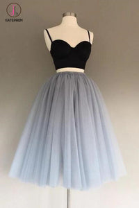 Two Piece Spaghetti Straps A-Line Gray Tulle Homecoming Dress,Sweetheart Tulle Prom Dresses KPH0107
