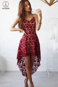 High-low Burgundy V-neck Straps Homecoming Dress Asymmetrical Lace Short Prom Dress KPH0108