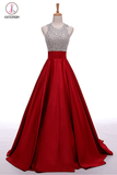 A-Line Round Neck Red Long Prom Dress with Beading,Sleeveless Evening Dresses KPP0213