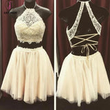 Beige Two Pieces Lace Top Halter Sleeveless Graduation Dress,Homecoming Dress for Teens KPH0109