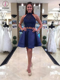 Princess Halter Two Piece Homecoming Dresses,Mini Sleeveless Lace Short Prom Dresses KPH0111