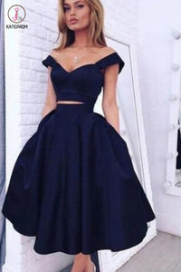 Two Pieces Off Shoulder Navy Blue Short Homecoming Dresses,Short Prom Gowns KPH0112