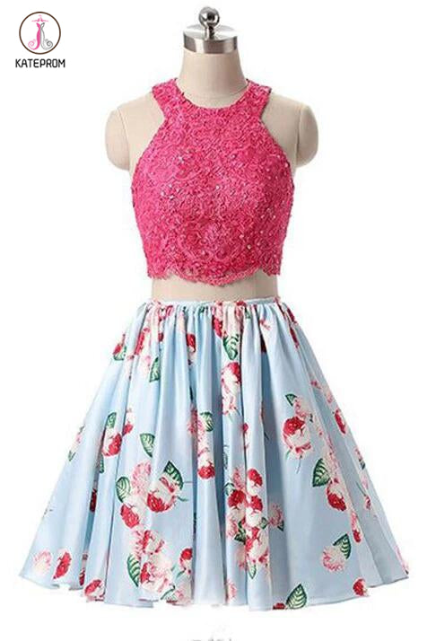 New Arrival Two Piece Round Neck Homecoming Dresses,Light Blue Short Prom Gown KPH0114