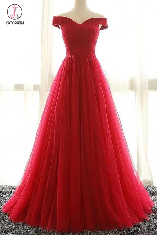 Red A line Tulle Off-shoulder Long Prom Dress,Red Evening Dress,Floor-length Prom Dress Long KPP0215