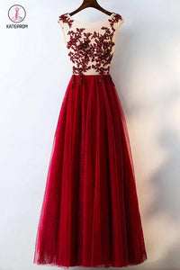 Burgundy Lace Applique Sleeveless Tulle Long Prom Dress with Beads,A-line Evening Dresses KPP0216