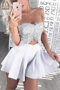 Two Pieces Cheap Strapless Lace Homecoming Dress,Satin Short Prom Dress,Party Dress KPH0115