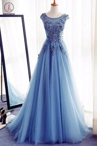 Appliques A-Line Sleeveless Ice Blue Tulle Prom Dresses Long,Evening Dresses KPP0217