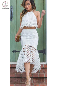 White Jewel Two Pieces Mermaid Sleeveless Hi-Lo Party Dress Homecoming Dress KPH0118