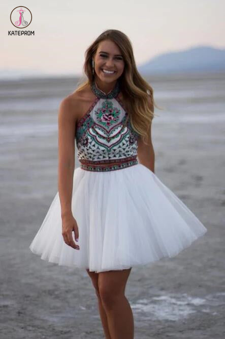 White A-line High Neck Two Piece Mini Tulle Homecoming Dress with Embroidery KPH0119