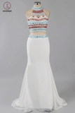 Two Piece Halter Sleeveless Ivory Beaded Prom Dress with Sweep Train,Prom Dress Long KPP0219