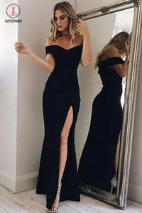 Charming Black Off-the-shoulder Split Side Evening Party Dress,Black Mermaid Prom Dress KPP0223