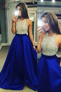 Royal Blue Halter Sleeveless Sparkly Long Prom Dresses with Beading,Backless Formal Dress KPP0226