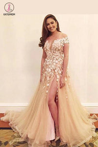Floor-length V-neck Off-the-shoulder Tulle Applique Split Prom Dress,Sexy Evening Dress KPP0229