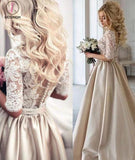 A-line Half Sleeves V-neck Ruched Long Prom Dress with Lace Top,Long Evening Dress KPP0230