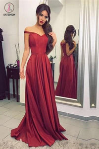 Burgundy Off-the-Shoulder Floor-length Ruched Satin Long Prom Dresses,Evening Dresses KPP0232