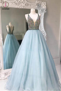 Deep V-neck Light Blue Backless Sleeveless Floor-length Tulle Prom Dress with Beads,Party Dress KPP0234