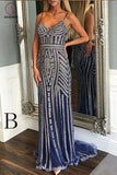 Luxurious Mermaid Spaghetti Straps V-Neck Sparkly Sweep Train Prom Dress,Party Dress KPP0238