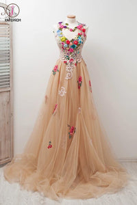 A-line Scoop Sleeveless Open Back Appliques Tulle Prom Dress with Hand-Made Flowers KPP0239