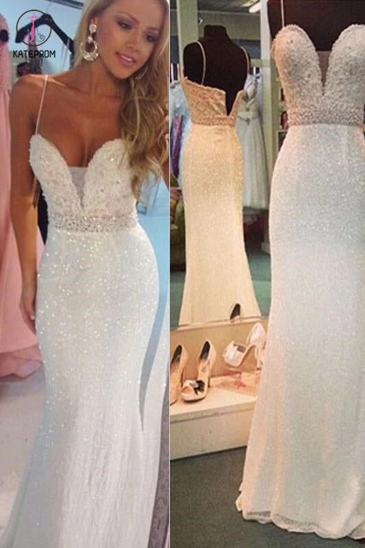Sexy White Beaded Spaghetti Straps Mermaid Evening Party Dresses,Sparkly Prom Gown KPP0247