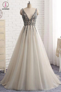Sexy Deep V-neck Bling Sleeveless Tulle Prom Dress with Sequins,Formal Dresses KPP0251