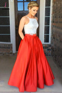 Fashion Red Two Piece Square Neck Satin with Appliques Lace Prom Dress Long KPP0253