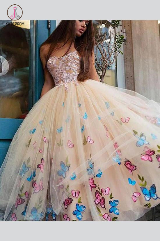 Sexy Strapless Ball Gown Tea-Length Tulle Prom Dress for Princess,Long Formal Dress KPP0254
