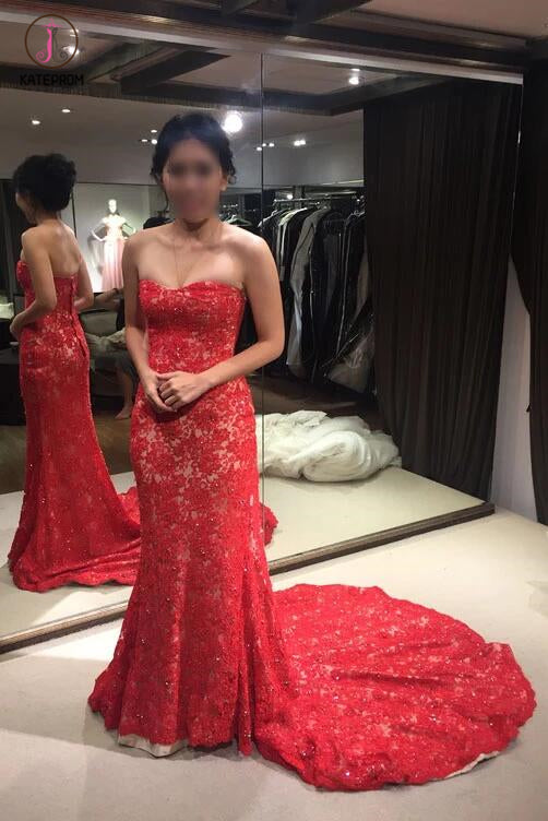 Red Lace Strapless Trumpet Court Train Evening Dress,Winter Formal Dresses KPP0261