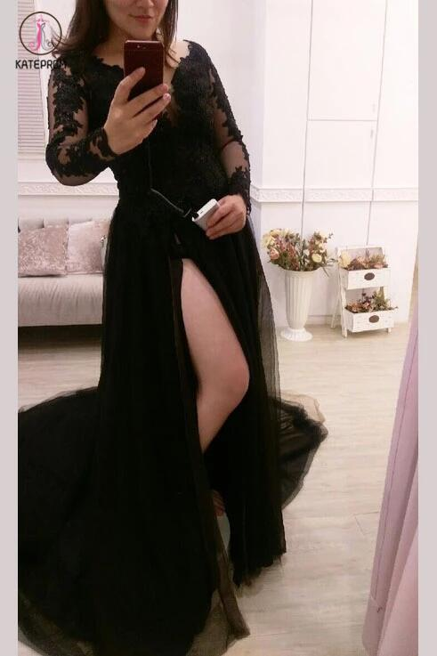 Sexy Black Split Tulle Lace Appliques Long Sleeves Sweep Train Prom Dress KPP0263