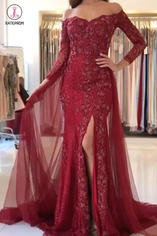 Burgundy Off-the-shoulder 3/4 Sleeves Split Tulle Prom Dresses,Long Formal Gown KPP0267