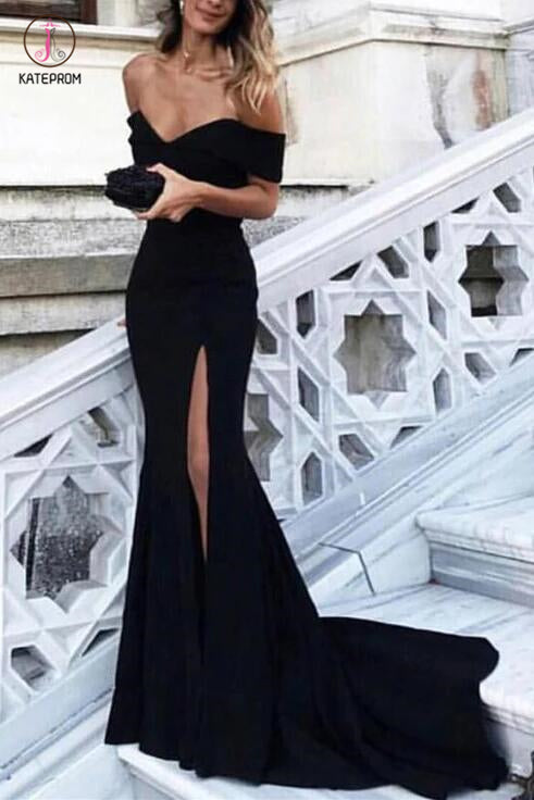Sexy Black Off the Shoulder Split Mermaid Sweep Train Prom Dress,Evening Dresses KPP0269