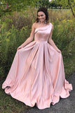 Stylish Pink Satin One Shoulder Sleeveless Long Prom Dress,A-line Evening Dresses KPP0270
