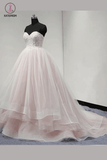 Light Pink Strapless Sweetheart Charming Affordable Layers Long Prom Dresses Ball Gown KPP0271
