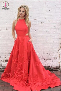 A-Line Red Jewel Keyhole Back Sleeveless Sweep Train Satin Prom Dress with Appliques KPP0272