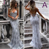Spaghetti Straps V-neck Mermaid Sparkly Tulle Evening Dress,Long Prom Gowns KPP0274