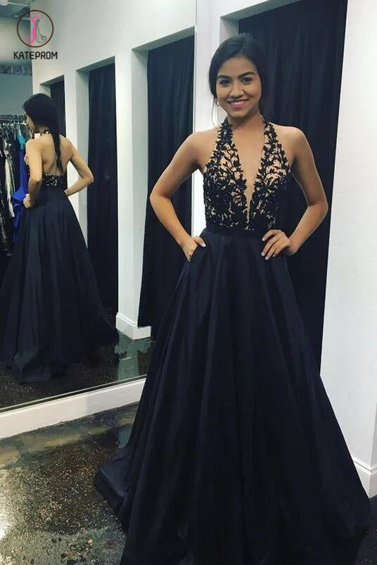 Navy Blue Deep V-neck Sleeveless Halter Satin Floor-length with Lace Appliques Prom Dress KPP0277