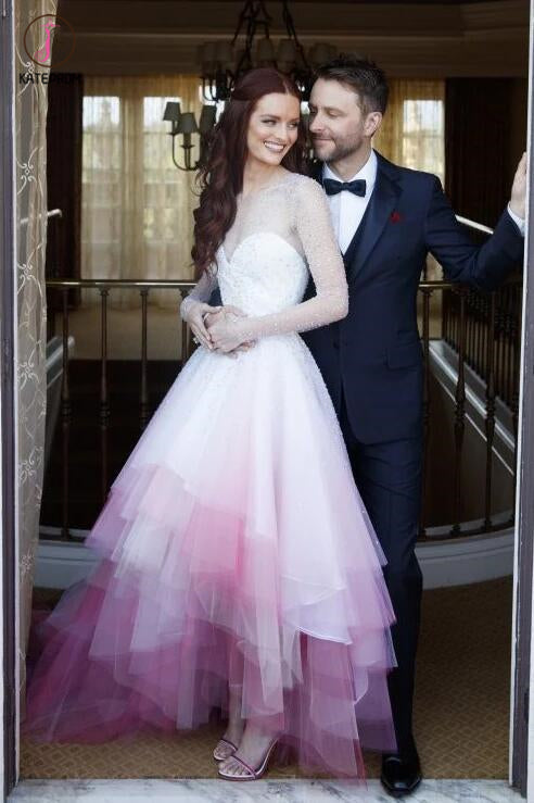 A-line Colorful Pink and White Long Sleeves Sheer Long Wedding Dress,Ombre Bridal Gown KPP0278