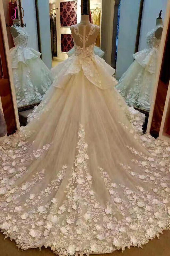 Gorgeous Sleeveless Ball Gown Appliques Flowers Court Train Wedding Dresses KPP0279