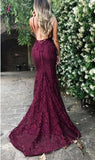 Burgundy Trumpet Spaghetti Straps V-neck Lace Sweep Train Mermaid Prom Dress KPP0281