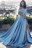 Blue A-line Off-the-shoulder Satin Ruched Split Sweep Train Prom Gown KPP0282