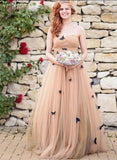 A-line Strapless Floor-length Ruched Tulle Wedding Dresses with Flowers KPW0130