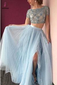 Two piece Bateau Short Sleeve Beading Light Blue Tulle Split Prom Dress with Lace KPP0286