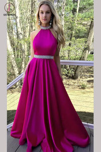 Hot Pink High Neck A-line Satin Beading Backless Long Prom Gown,Cheap Prom Dress KPP0287