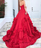 Red Princess Strapless Long Prom Dress,Court Train Sweetheart Formal Gown KPP0288